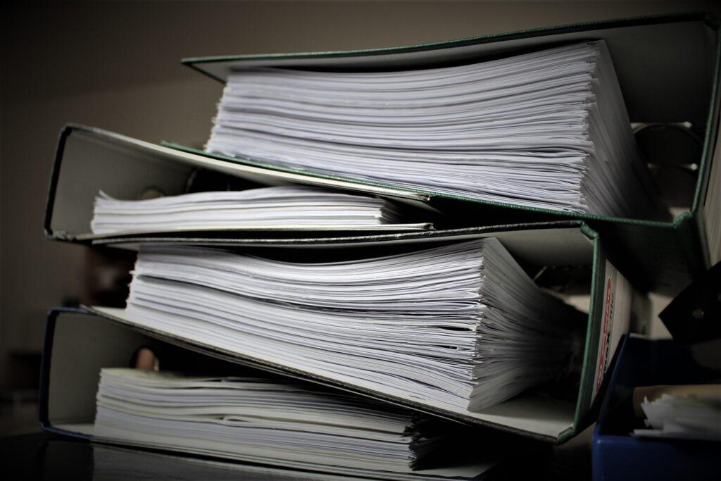 Piled up folders